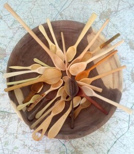 map with carved spoons and bowl