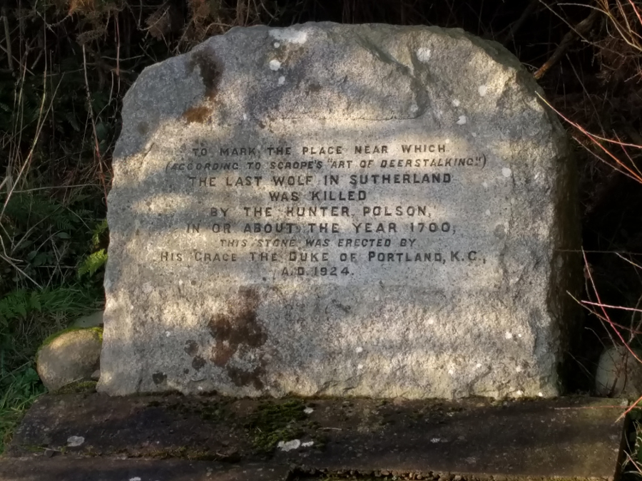 Plaque marking death of last wolf in 1700