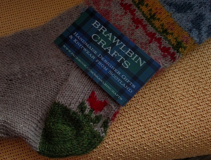 comfy sock made on four needles by https://facebook.com/brawlbincrafts